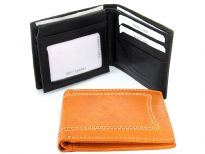 Carry your money in style. This is a leather mens wallet featuring 9 credit card slots, 1 ID window, and elegant exterior stitching. As this is genuine leather, please be aware that there will be some small creases and nicks in the leather but the wallet are all brand new.