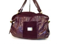 Designer Inspired PU & Suede combination Shoulder Bag with a zipper closure and a double handle.