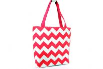 PVC Zig Zag print shopping tote. Top zipper closing.
