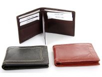 Genuine leather Bifold men wallet with two money compartments, six credit card slots with removable picture holder and fixed center flap with picture ID window. Features elegant white stitching on the outside.