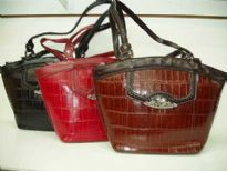 Genuine Leather Handbag with Croco Embossed Pattern. Double long shoulder straps & top zipper closure.