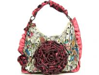 Designer Inspired Snake Print in Multi Colors PVC Hobo Handbag with big floral applique, has a single strap and a zipper closure. Gathered trim borders the handle and the sides of the bag.