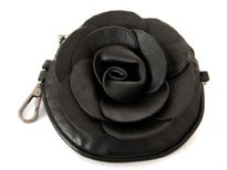 Faux leather Flower Clutch Bag with Metal shoulder strap.