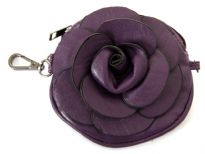 Faux leather Flower Clutch bag with metal shoulder strap