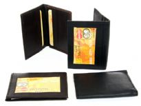 This is a genuine leather slim design credit card and ID holder in a bifold design. There are 6 credit card slots and one ID window on the outside. As this is genuine leather, please be aware that there will be some small creases and nicks in the leather but the wallet are all brand new.