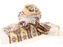 Beautiful printed scarf in beige with gold & coffee colored artistic pattern comprising of paisleys, leaves & flowers. Lightweight & matches with any kind of outfit. 60% polyester and 40% silk.
