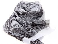 Beautiful printed scarf in white with artistic pattern in black comprising of paisleys, leaves & flowers. Lightweight & matches with any kind of outfit. 60% polyester and 40% silk. Hand wash.