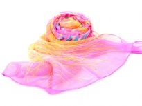 Artistic Pink colored sheer & lightweight scarf with yellow colored print on it. 60% Polyester and 40% Silk. Hand wash. Imported.