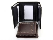 Genuine leather Tri-fold men wallet with two money compartments six credit card slots with removable picture holder and center picture ID window. Features elegant white stitching on the outside.