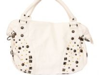 PVC Fashion Handbag has a top zipper closure, a double handle, a detachable shoulder strap, and a mix of studded details.