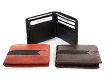 Carry your money in style. This is a genuine leather bifold double bill mens wallet with 7 credit card slots and 1 ID window. The top left flap that has the ID window is removable.  Features elegant white stitching on the outside. As this is genuine leather, please be aware that there will be some small creases and nicks in the leather but the wallet are all brand new.