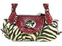 Designer Inspired Metallic Zebra Print Handbag