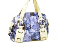 Printed PVC Fashion Handbag has an artwork pattern, a double handle, a top zipper closure and fashionable straps.
