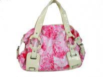 Printed PVC Fashion Handbag has a floral pattern, a double handle, a top zipper closure and fashionable straps.