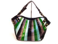 Patch work PVC Handbag. Top zipper closing.