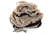 Ruffled & Crinkled 100% Acrylic Scarf in light brown color with contrasting coffee colored stripes running through it vertically. Little fringes on the ends of the scarf. Imported.