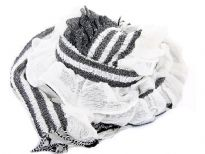 Ruffled & Crinkled 100% Acrylic Scarf in white color with contrasting coffee colored stripes running through it vertically. Little fringes on the ends of the scarf. Imported.