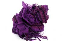 Ruffled & Crinkled 100% Acrylic Scarf in purple color with contrasting coffee & magenta stripes running through it vertically. Little fringes on the ends of the scarf. Imported.