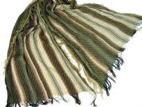 Beige colored viscose scarf with striped pattern in brown & green colors. Little eyelash fringes along the length of scarf and threads like fringe on the width of the scarf. Imported.