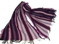 Purple colored viscose scarf with striped pattern in white color. Little eyelash fringes along the length of scarf and threads like at the edges. Imported.