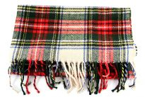 Multi colored Plaids Green Acrylic scarf.