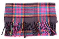 Multi colored Plaids Pink Acrylic Scarf