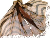 Lightweight Shaded Polyester scarf in shades of brown with black waves over it. Fringes on its ends. Imported.