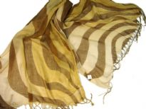 Lightweight Shaded Polyester scarf in shades of gold with brown waves over it. Fringes on its ends. Imported.