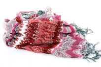 This vibrant knit scarf in 100% acrylic in fuchsia & white combination can light up any mood in harsh winter season. This trendy cold weather accessory has a soft sweater knit design with a bit of stretch for lots of tying methods. Imported.