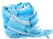 Checkered turquoise & sky blue 100% polyester woven scarf which is crinkled as well as stretchable. Silver lining running through the scarf vertically. Twisted fringes on its ends. Hand wash. Imported.