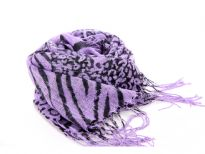 Zebra & Leopard Print in black over 100% viscose scarf in bright lilac color. Long fringes on the ends. Imported.
