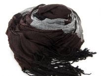 Crinkled Polyester Scarf with Alternating Coffee & Gray colors horizontally. Small diamond pattern all over it. Twisted long fringes in black on its ends. Can be teamed up with a formal or casual attire. Imported. Hand wash.