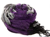 Crinkled Polyester Scarf with Alternating Purple & Gray colors horizontally. Small diamond pattern all over it. Twisted long fringes in black on its ends. Can be teamed up with a formal or casual attire. Imported. Hand wash.