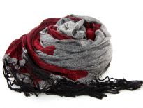 Crinkled Polyester Scarf with Alternating Burgundy & Gray colors horizontally. Small diamond pattern all over it. Twisted long fringes in black on its ends. Can be teamed up with a formal or casual attire. Imported. Hand wash.