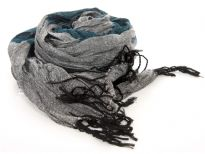 Crinkled Polyester Scarf with Alternating Teal & Gray colors horizontally. Small diamond pattern all over it. Twisted long fringes in black on its ends. Can be teamed up with a formal or casual attire. Imported. Hand wash.