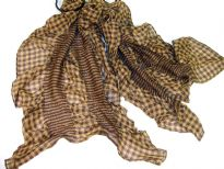 This checkered print 100% polyester scarf in shades of brown can be a perfect accessory all year round. The scarf is stretched in the middle with a striped pattern & gives a ruffled look. Imported.