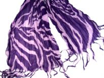 Zebra print 100% viscose scarf which is crinkled & lightweight. Packed in a twisted manner which helps keeps the crinkles for long time. Threads like fringes at its ends.