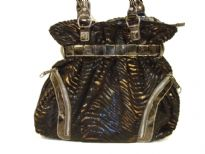 Designer Inspired Metallic Animal Print Velvet Shoulder Bag with zipper details. Double strap and zipper closure. Made of PU (polyurethane).
