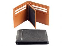 Carry your money in style. This is a superior quality genuine leather bi-fold men wallet. It has 8 credit card slots with 1 ID window. Features double bill bifold style. As this is genuine leather, please be aware that there will be some small creases and nicks in the leather but the wallet are all brand new.