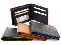 Carry your money in style. This is a superior quality genuine leather bi-fold men wallet. It has 8 credit card slots and 1 ID window on the left (lift-up) flap. Different colors represent the colors of the borders/edges. As this is genuine leather, please be aware that there will be some small creases and nicks in the leather but the wallet are all brand new.