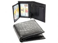 Carry your money in style. This is a genuine leather crocodile embossed bi-fold mens wallet. This wallet has 4 credit card slots, 2 ID Windows, a snap lock coin slot, and multiple side pockets. The left snap lock flap reveals 2 ID windows. As this is genuine leather, please be aware that there will be some small creases and nicks in the leather but the wallet are all brand new.
