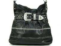 Rhinestones Buckle around the neck of this bag & also on the body of bag. Broad single shoulder strap. Imported.