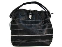 Fashion hobo bag a stripes pattern, a studded wing detail, a single strap and a zipper closure. Made of PVC.