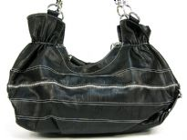 Fashion hobo bag has a stripes pattern, a top zipper closure and a double handle. Made of PVC.