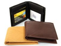 Carry your money in style. This is a double bill bifold mens leather wallet. It has 6 credit card slots and 4 ID windows. The brown color has black dot design. As this is genuine leather, please be aware that there will be some small creases and nicks in the leather but the wallet are all brand new.