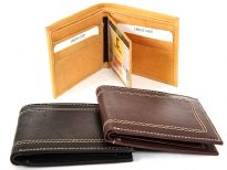 Carry your money in style. This is a genuine leather bi-fold double bill mens wallet with removable flap. Removable flap can hold 2 ID Windows. This wallet has 6 credit card slots and elegant exterior stitching. It is made of handcrafted genuine cowhide leather. As this is genuine leather, please be aware that there will be some small creases and nicks in the leather but the wallet are all brand new.