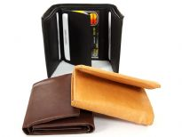 Carry your money in style. This is a genuine leather tri-fold double bill mens wallet. This wallet can hold 8 credit cards and 2 IDs. It is made of genuine cowhide leather. As this is genuine leather, please be aware that there will be some small creases and nicks in the leather but the wallet are all brand new.