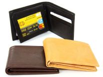 Carry your money in style. This is a genuine leather bi-fold double bill mens wallet. This wallet has 7 credit card slots, 2 ID windows and 1 center zippered pocket. There is a left lift-up flap. As this is genuine leather, please be aware that there will be some small creases and nicks in the leather but the wallet are all brand new.