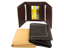 Carry your money in style. This is a genuine leather tri-fold double bill mens wallet. This wallet has 6 credit card slots and 1 ID window. As this is genuine leather, please be aware that there will be some small creases and nicks in the leather but the wallet are all brand new.