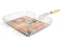 Stainless Steel BBQ Grilling Basket - Deep with wooden handle